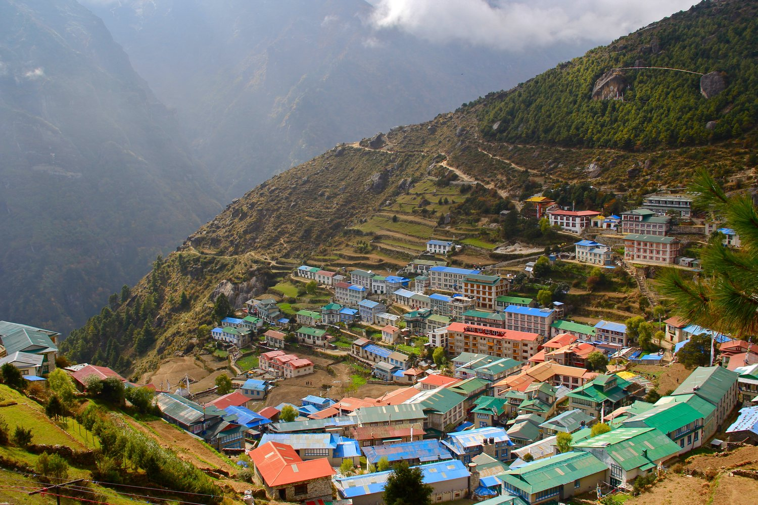Excellent view of Namche in Autumn