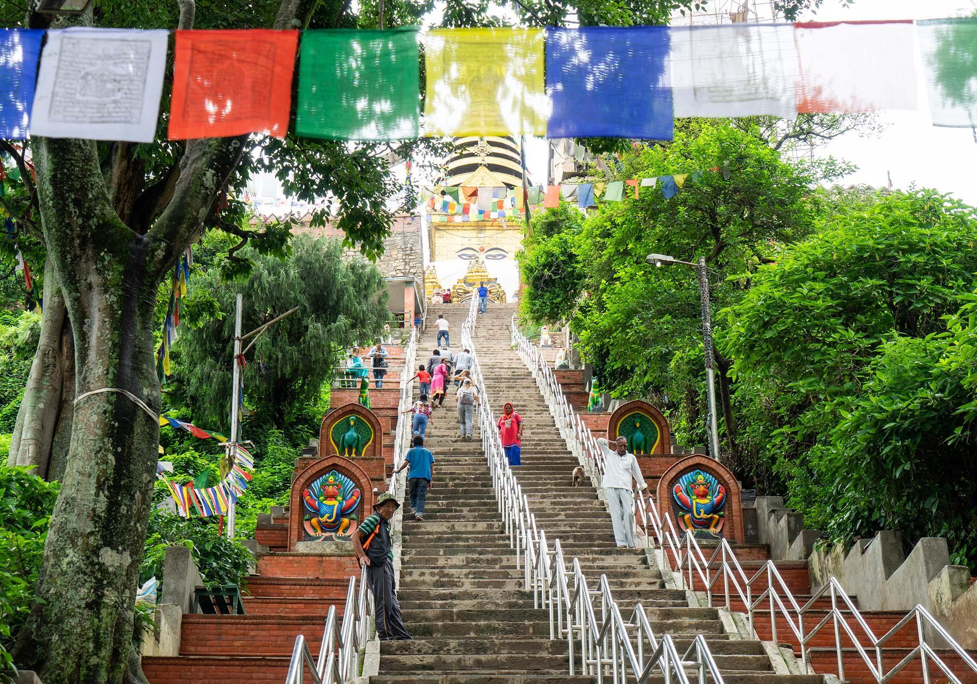 365 steps of staircases in Swoyambhunath Stupa
